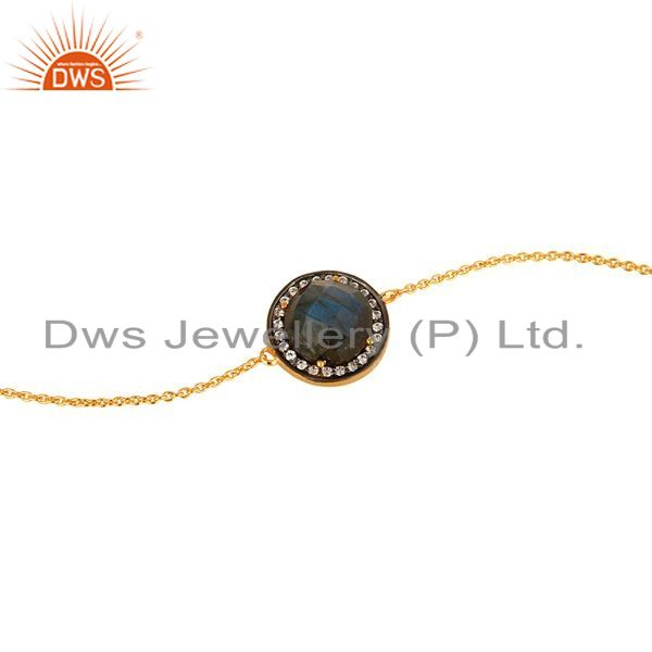 Exporter 18K Yellow Gold Plated Sterling Silver Labradorite And CZ Chain Bracelet