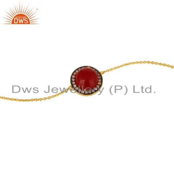 Exporter Red Aventurine Gemstone And CZ Chain Bracelet In 18K Gold Over Sterling Silver
