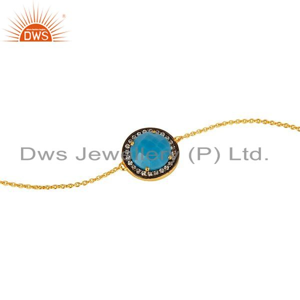 Exporter 18K Gold Over Sterling Silver Turquoise Gemstone And CZ Chain Bracelet
