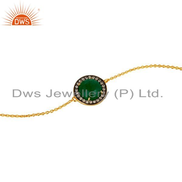 Exporter 18K Yellow Gold Plated Sterling Silver Green Aventurine Chain Bracelet With CZ