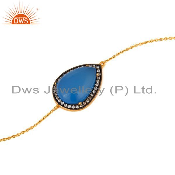 Exporter 18K Yellow Gold Plated Sterling Silver Natural Blue Chalcedony Gemstone Bracelet