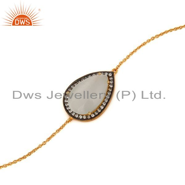 Exporter Ladies Fashion Gold-Plated Sterling Silver Chain Link Bracelet With Moonstone