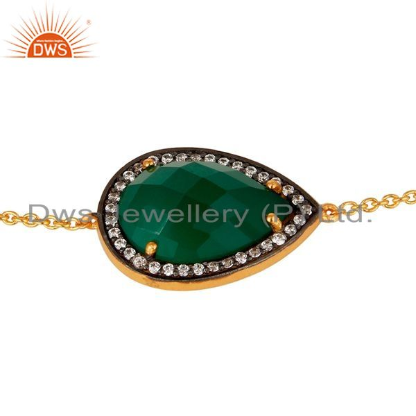 Exporter Solid 925 Silver With Gold Plated Green Onyx Gemstone Chain Bracelet With CZ
