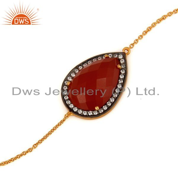 Exporter Solid Sterling Silver With Gold Plated Red Onyx Gemstone Chain Bracelet With CZ