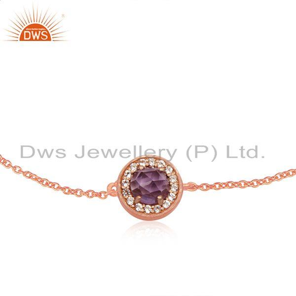 Exporter 92.5 Silver Rose Gold Plated Cz and Amethyst Birthstone Chain Bracelet Supplier