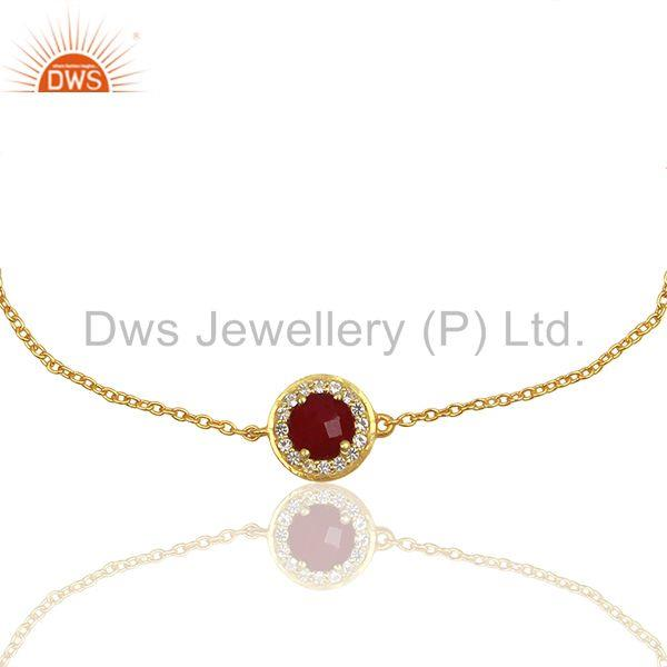 Exporter Red Ruby and White Topaz Gemstone Solid Silver Chain Bracelet