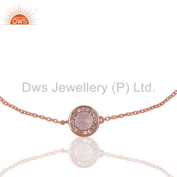 Exporter Rose Quartz and White Topaz 925 Silver Chain Bracelet Wholesale