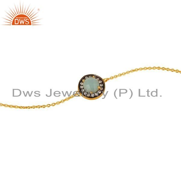 Exporter 18K Gold Plated Sterling Silver Green Chalcedony And CZ Chain Bracelet