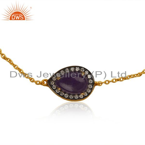 Exporter Natural Aventurine Gemstone Silver Gold Plated Chain Bracelet Jewelry