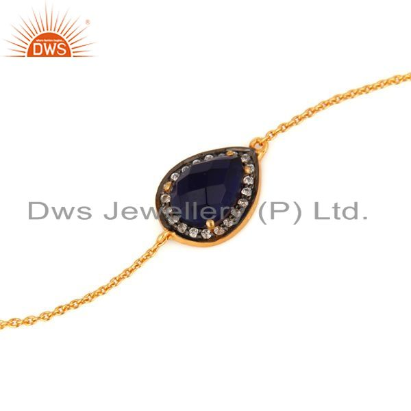 Exporter Corundum Blue Sapphire And CZ Bracelet in Sterling Silver with 18K Gold Plated
