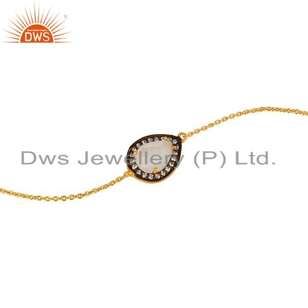 Exporter 18K Gold Plated Sterling Silver White Moonstone And CZ Chain Bracelet