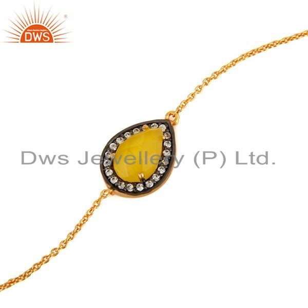 Exporter 18ct Gold Plated Sterling Silver Yellow Moonstone Designer Bracelet For Women