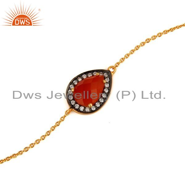 Exporter Natural Red Onyx & White Zircon Fashion Bracelet Made In 22k Gold Over Silver