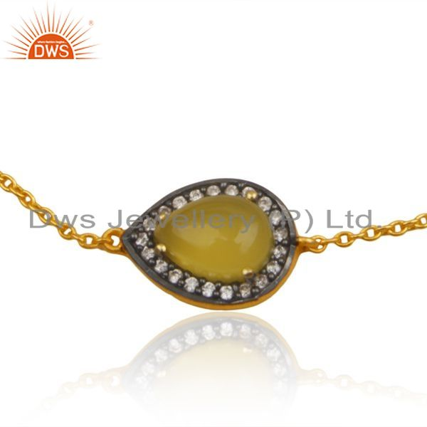 Exporter Yellow Chalcedony CZ Gemstone Designer Gold Plated Silver Chain Bracelet Jewelry