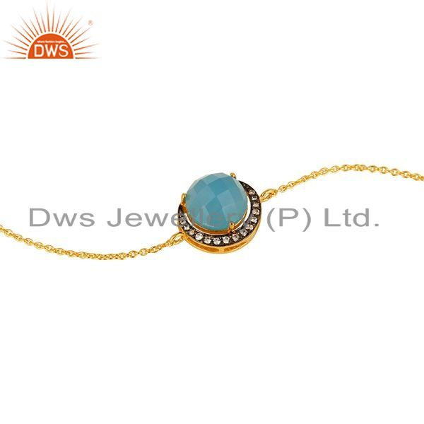 Exporter 18K Gold Plated Sterling Silver Blue Chalcedony And CZ Chain Bracelet