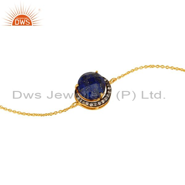 Exporter Natural Lapis Lazuli Gemstone Bracelet Made In 18K Gold On Sterling Silver
