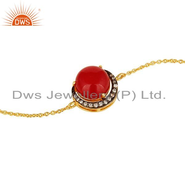 Exporter 18K Yellow Gold Plated Sterling Silver Red Aventurine And CZ Chain Bracelet