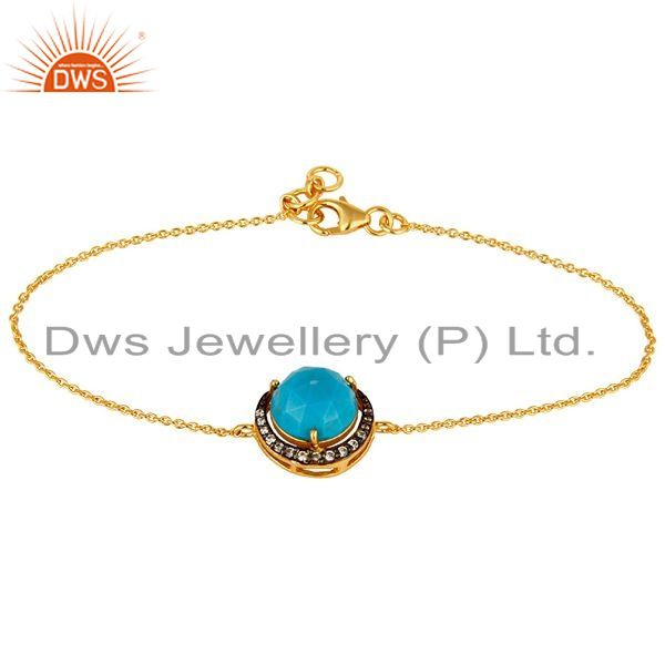 Exporter 18K Gold Plated Sterling Silver Turquoise And CZ Half Moon Charms Bracelet