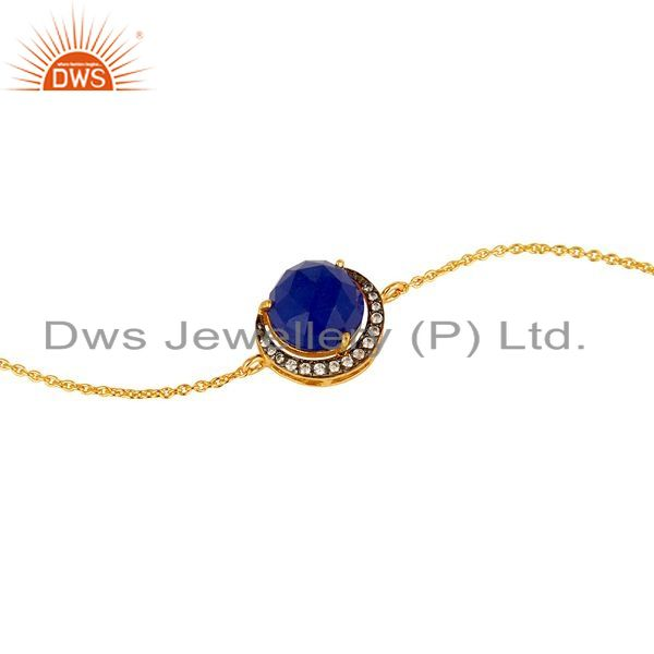Exporter 18K Gold Plated Sterling Silver Blue Aventurine And CZ Half Moon Charms Bracelet