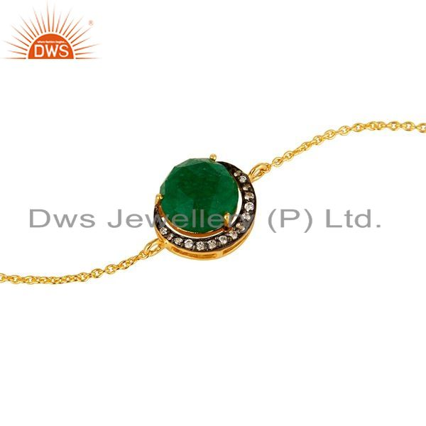 Exporter 18K Yellow Gold Plated Sterling Silver Green Aventurine And CZ Chain Bracelet