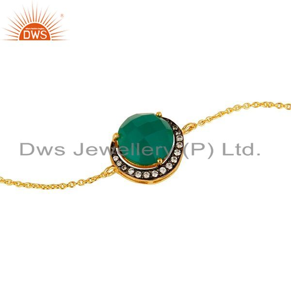 Exporter 18K Gold Plated Sterling Silver Green Onyx And Cubic Zirconia Bracelet