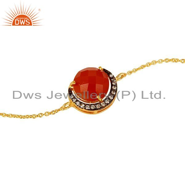 Exporter Red Onyx And Cubic Zirconia Fashion Bracelet In 18K Gold Over Sterling Silver