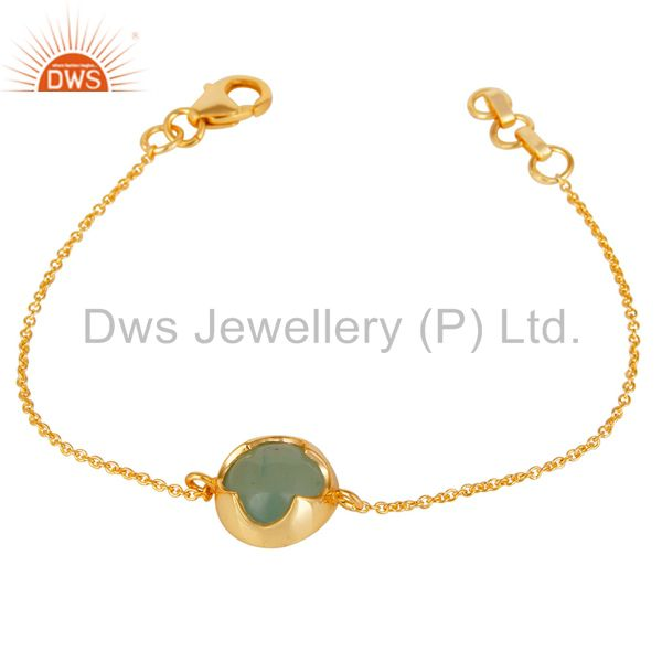 Exporter 14K Yellow Gold Plated Sterling Silver Dyed Chalcedony Chain Pendant Necklace
