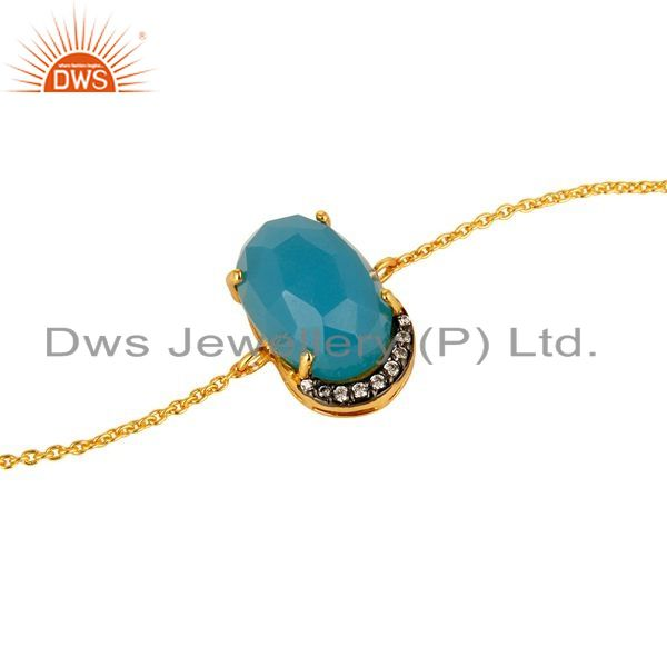 Exporter 18K Yellow Gold Plated Sterling Silver Aqua Blue Chalcedony Chain Bracelet