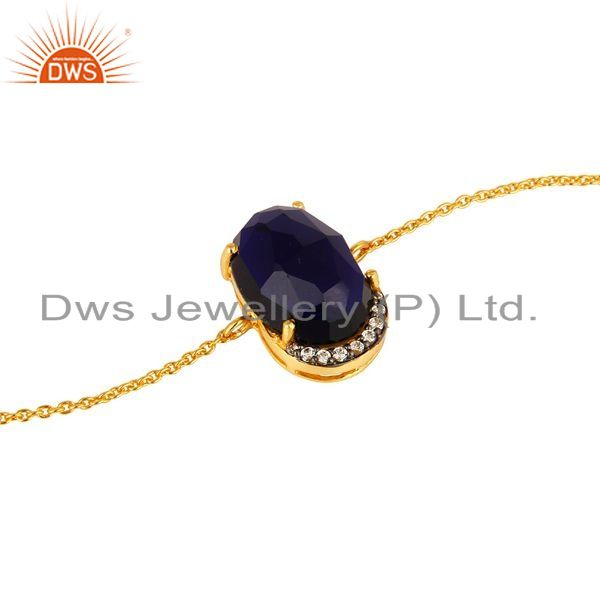 Exporter 18K Yellow Gold Plated Sterling Silver Blue Corundum And CZ Chain Bracelet
