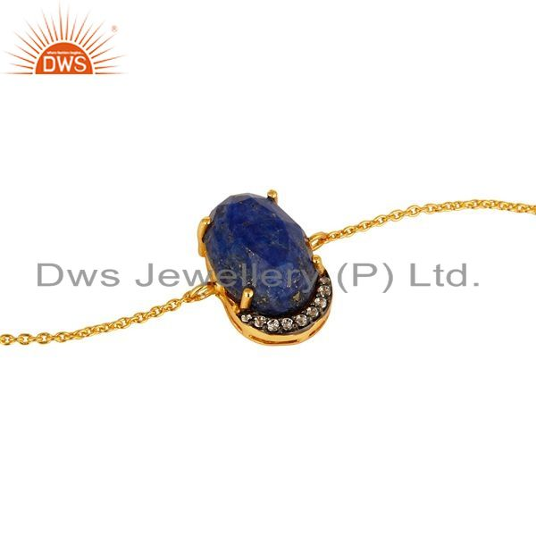 Exporter 18K Yellow Gold Plated Sterling Silver Lapis Lazuli Gemstone Fashion Bracelet