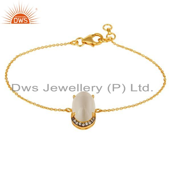 Exporter 18K Yellow Gold Plated Sterling Silver Pave CZ And Moonstone Chain Bracelet