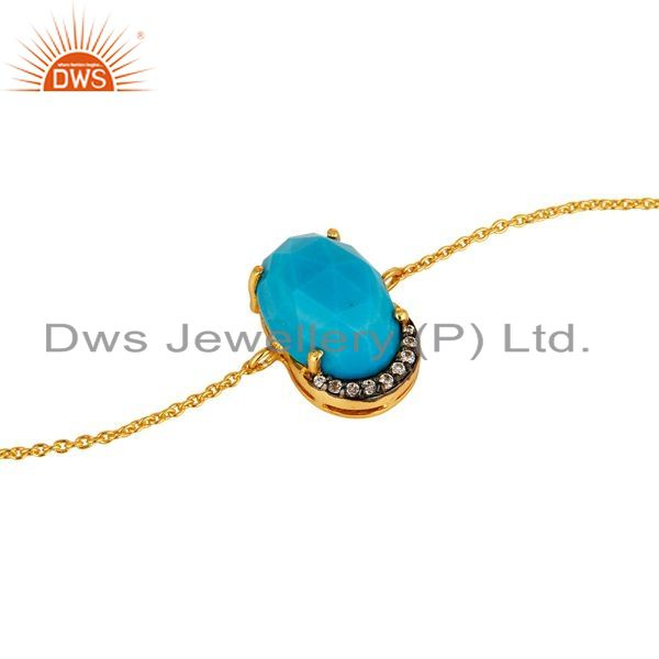 Exporter 18K Yellow Gold Plated Sterling Silver Turquoise Prong Set Bracelet With CZ