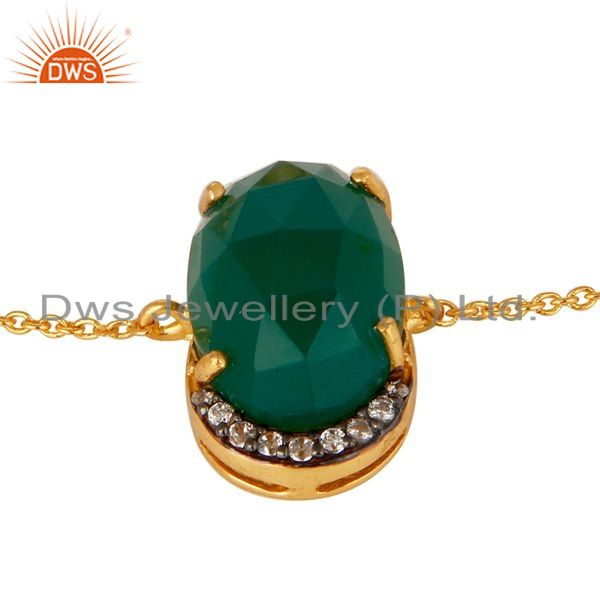 Exporter 18K Gold Plated 925 Silver Green Onyx Rose Cut Prong Set Bracelet With CZ