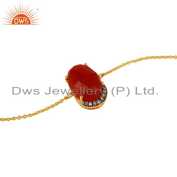 Exporter 18K Gold Plated Sterling Silver Red Onyx Gemstone Chain Bracelet With CZ