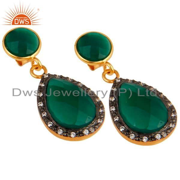 Exporter 18K Gold Plated Sterling Silver Green Onyx Faceted Drops Earrings With CZ
