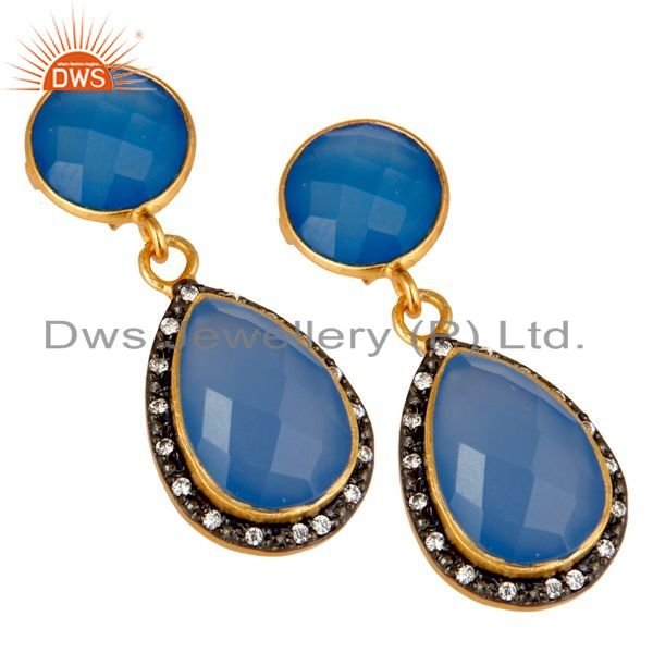 Exporter 18K Yellow Gold Plated Sterling Silver Blue Chalcedony Drop Earrings With CZ