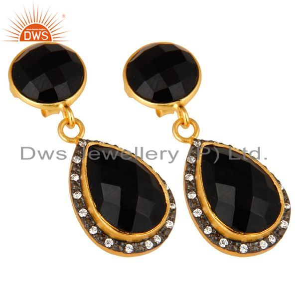 Exporter 18K Yellow Gold Plated Sterling Silver Black Onyx Drop Earrings With CZ