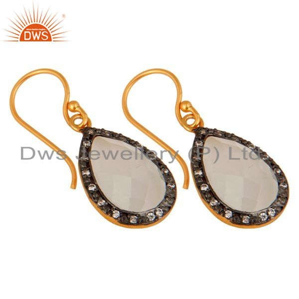 Exporter Natural White Moonstone 925 Sterling Silver Gemstone Dangle Hook Earring With CZ