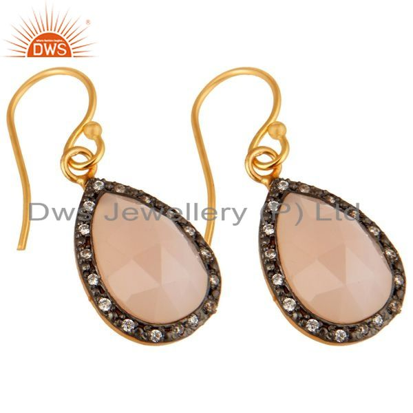 Exporter 18K Yellow Gold Plated Sterling Silver Rose Chalcedony Drop Earrings With CZ
