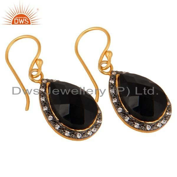 Exporter Gold Plated 925 Sterling Silver Faceted Black Onyx Gemstone Drop Earring With CZ