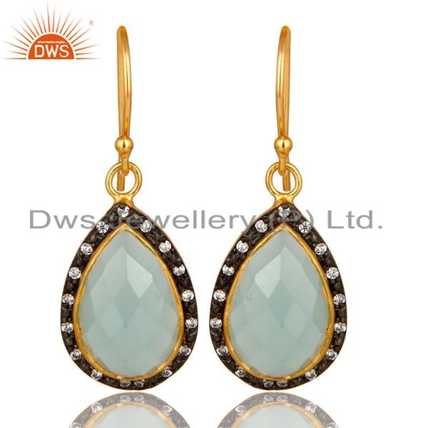 Exporter 18K Yellow Gold Plated Sterling Silver CZ And Aqua Chalcedony Glass Drop Earring
