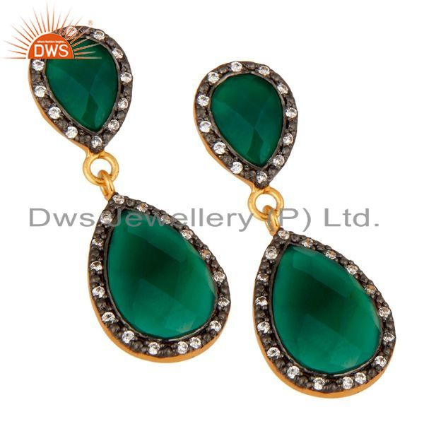 Exporter Solid 925 Sterling Silver Gold Plated Green Onyx Beautiful Drop Dangle Earring