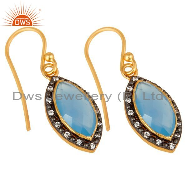 Exporter 18K Yellow Gold Plated Sterling Silver Blue Chalcedony Dangle Earrings With CZ