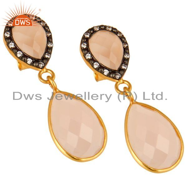 Exporter 14K Yellow Gold Plated Sterling Silver Rose Chalcedony And CZ Drop Earrings