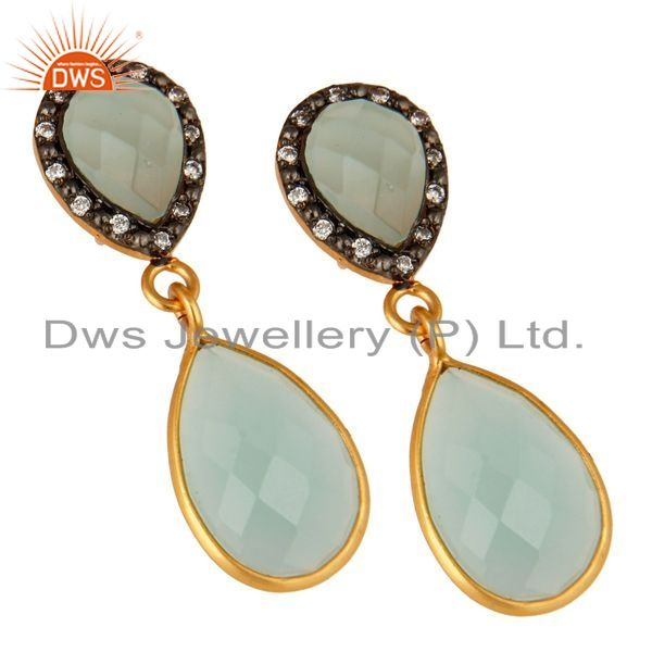 Exporter Dyed Aqua Blue Chalcedony Gemstone Sterling Silver Dangle Earrings With CZ