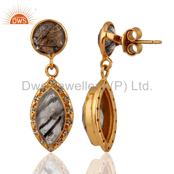 Exporter 18K Gold Plated Tourmalated Quartz & White Topaz Drop Earrings Sterling Silver
