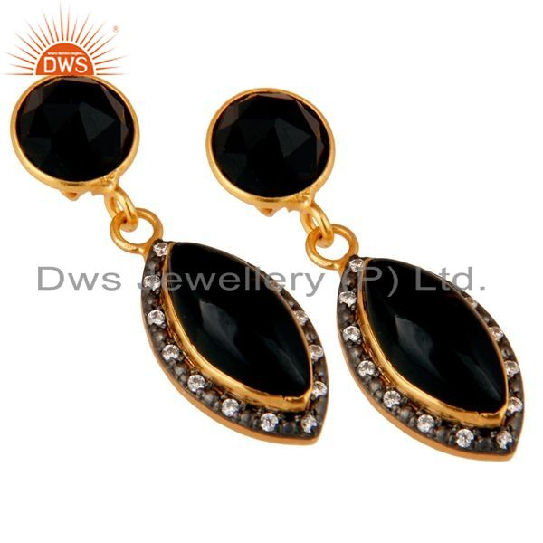 Exporter Natural Black Onyx Gold Plated 925 Solid Silver Dangle Earrings With White CZ