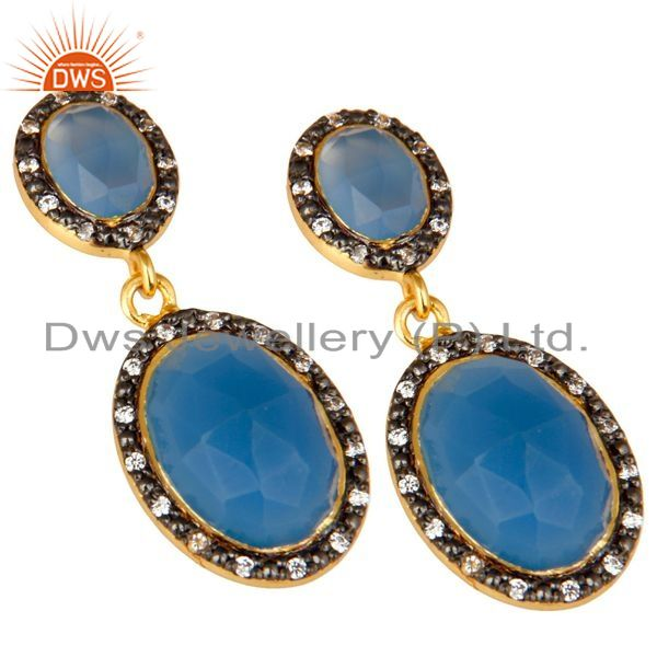 Exporter 18K Yellow Gold Plated Sterling Silver Blue Chalcedony And CZ Dangle Earrings