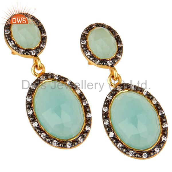Exporter 18K Yellow Gold Plated Sterling Silver Aqua Chalcedony And CZ Dangle Earrings