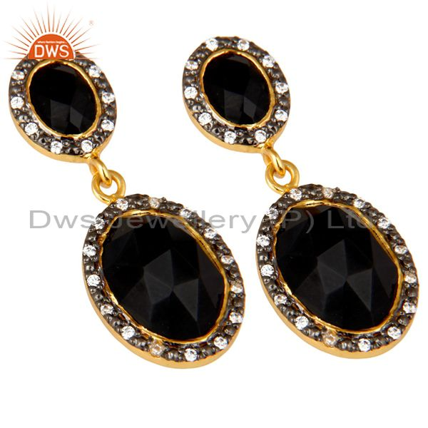 Exporter 18K Yellow Gold Plated Sterling Silver Black Onyx And CZ Double Dangle Earrings